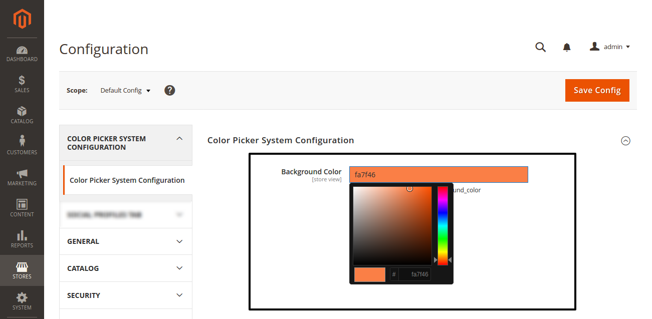 How to add color picker in Magento 2 system.xml configuration?
