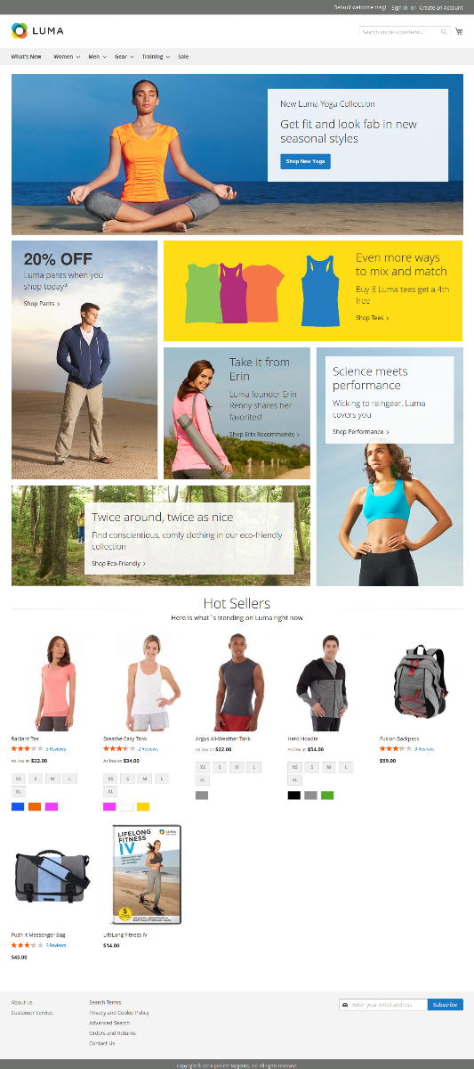 Luma theme front page with sample data Magento 2
