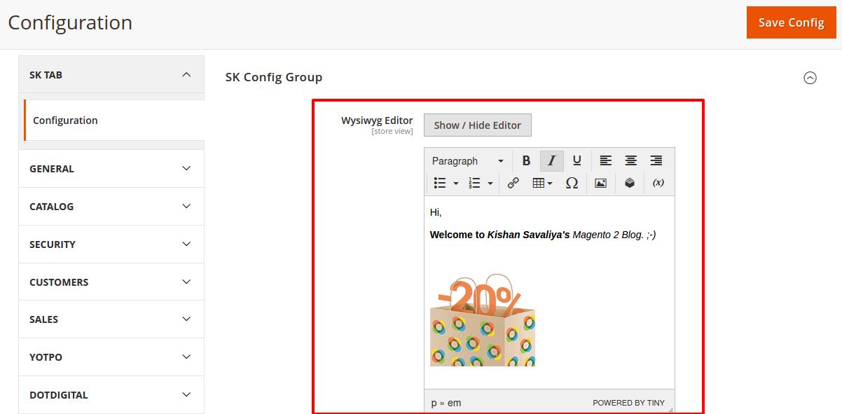 How to add WYSIWYG editor in magento 2 system.xml configuration - Kishan Savaliya